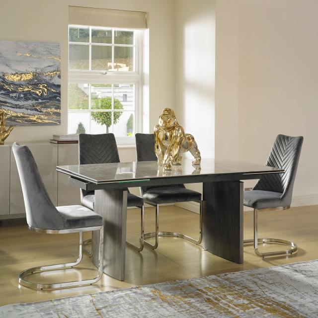 Barcelona - 160cm Extending Dining Table & 4 Marius Chairs White PU