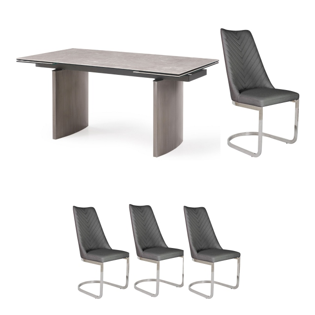 Barcelona - 160cm Extending Dining Table & 4 Marius Chairs Dark Grey PU