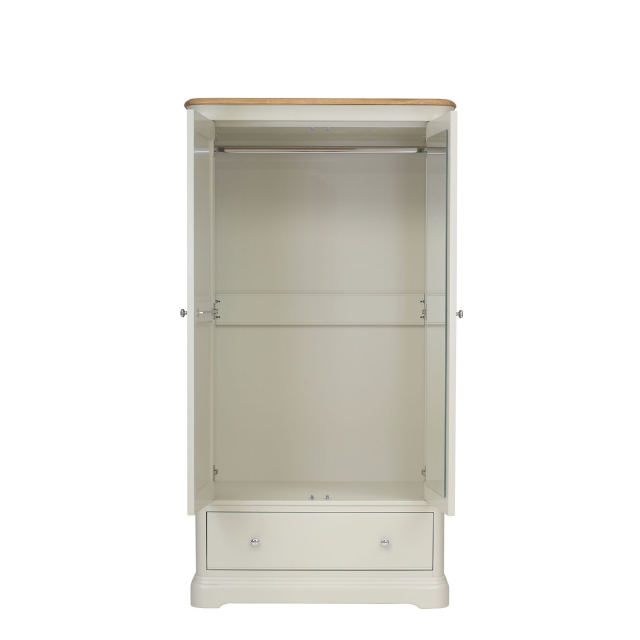 Oliver - Gents 2 Door 1 Drw Wardrobe Morning Dew/Lacquer Top