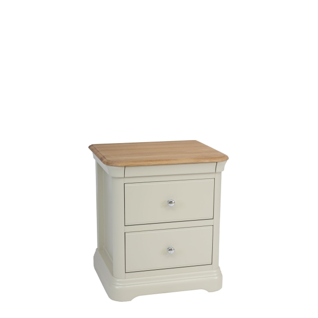 Oliver - Bedside Chest 2 Drawers Morning Dew/Lacquer Top