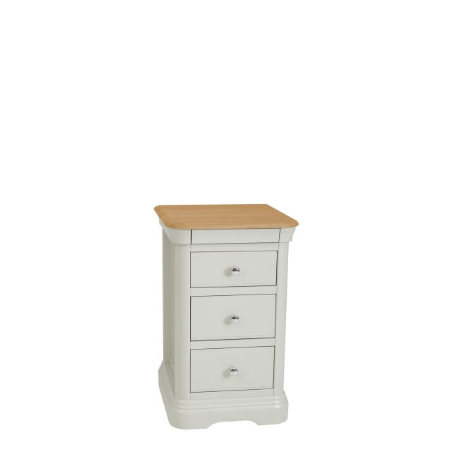 Oliver - Bedside Chest 3 Drawers Morning Dew/Lacquer Top