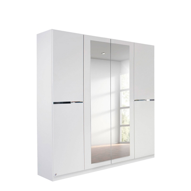 Alpen - 181cm 4 Door Hinged Robe With 2 Mirrors (210cmH) In AN806 Alpine White