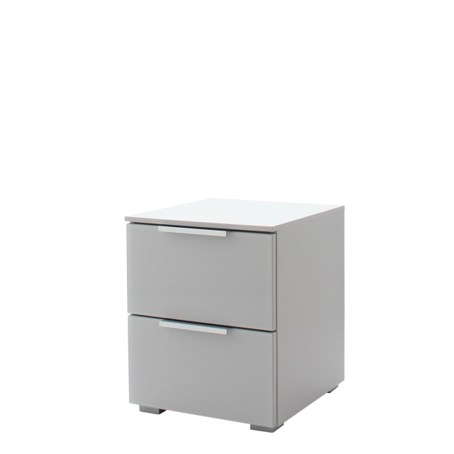 Strada - 40cm 2 Drawer Bedside In A030G Silk Grey Carcase and Glass Chrome Handles