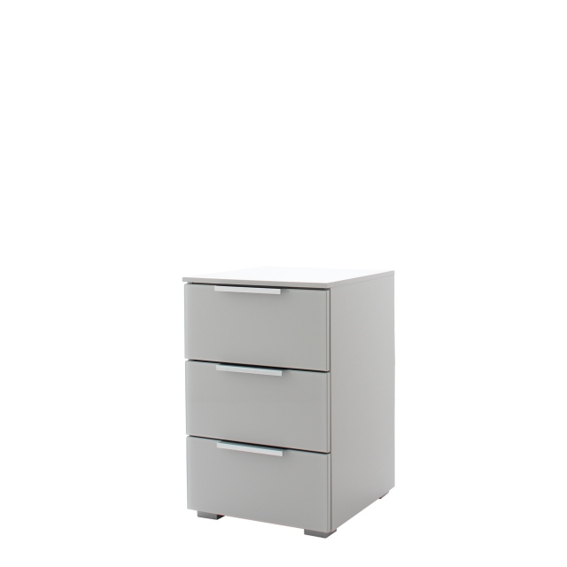 Strada - 40cm 3 Drawer Bedside In A030G Silk Grey Carcase and Glass Chrome Handles