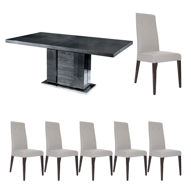 Antibes - 196cm Extending Dining Table With 6 Chairs In PU