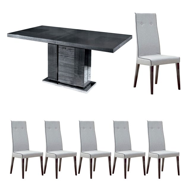 Antibes - 160cm Extending Dining Table With 6 Chairs In Fabric