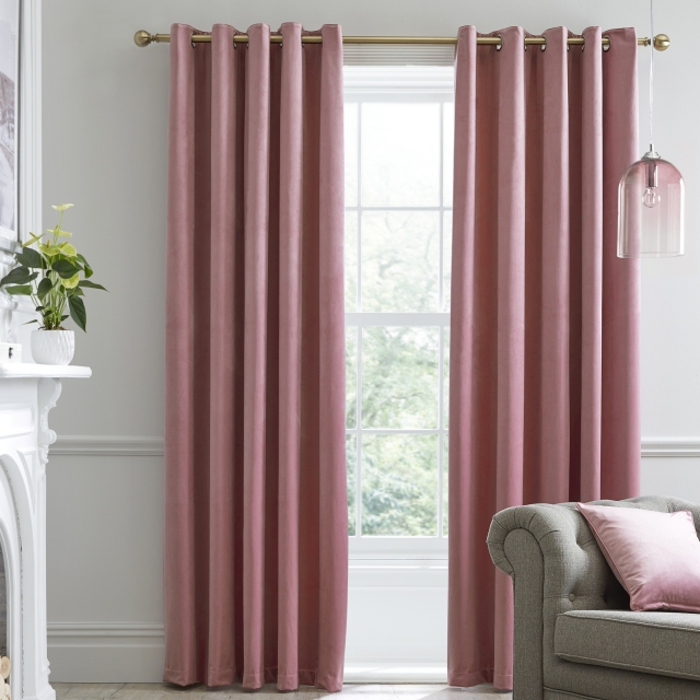 Laurence Llewelyn-Bowen Montrose Blush - Pair of Blackout Eyelet Curtains