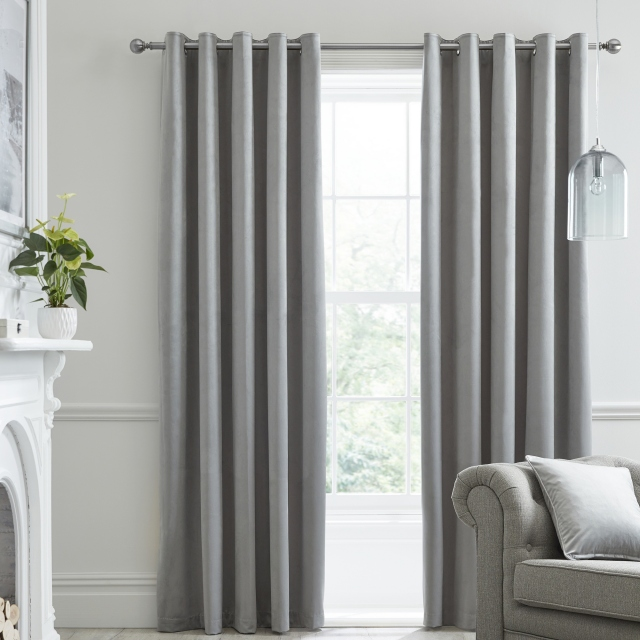 Laurence Llewelyn-Bowen Montrose Silver - Pair of Blackout Eyelet Curtains