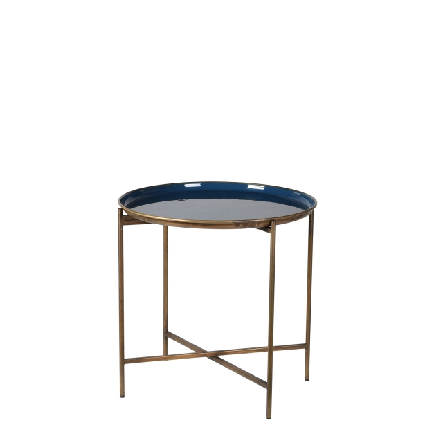 Reno - Blue & Gold Enamel Tray Table