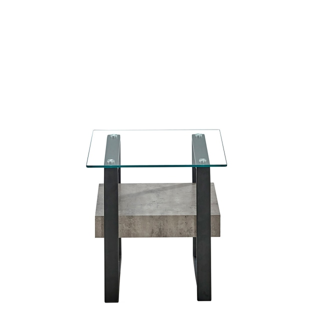 Faraday - End Table Concrete Effect/Glass