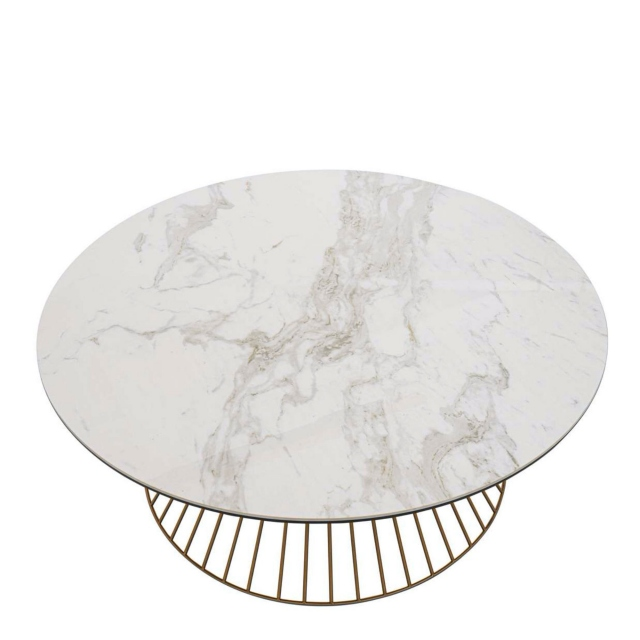 Aquarius - Coffee Table Brass Frame Ceramic Top
