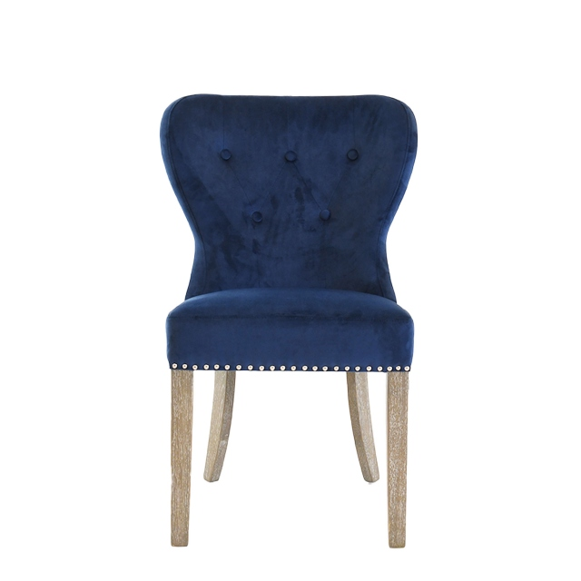 Dining Chair in 0701-01 Dark Grey Velvet, Oakwood Legs - Beaumont