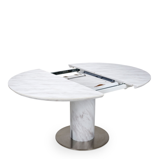 Arbor - 120cm Round Extending Dining Table White Marble Effect Top