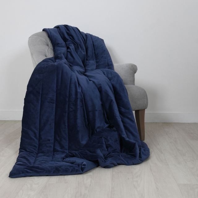 Laurence Llewelyn-Bowen Chic Velour Throw Navy