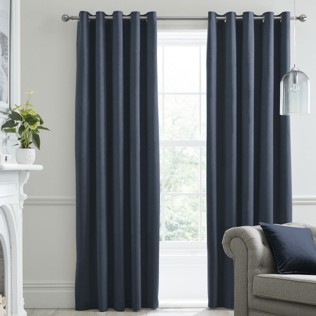 Laurence Llewelyn-Bowen Montrose Navy - Pair of Blackout Eyelet Curtains