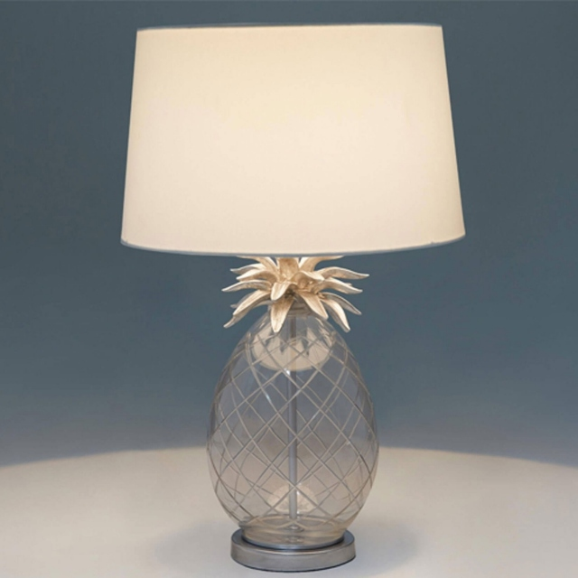 LA Collection Pineapple Table Lamp Cut Glass/Chrome