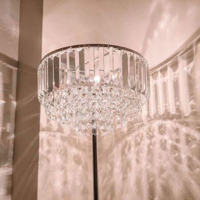 LA Collection Vienna Floor Lamp Crystal/Chrome