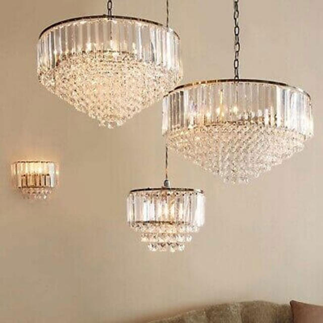 LA Collection Vienna 3 Light Semi Flush Fitting Crystal/Chrome