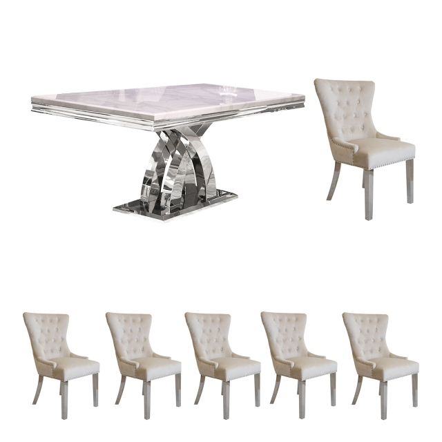 200cm Dining Table In Bone White With 6 Corinthia Chairs - Beige Velvet