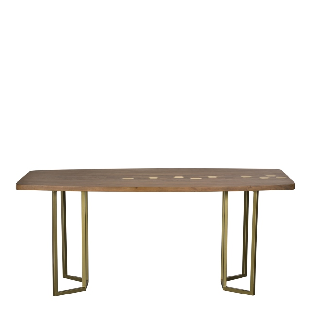 Penang - 180cm Dining Table Acacia & Brass Finish