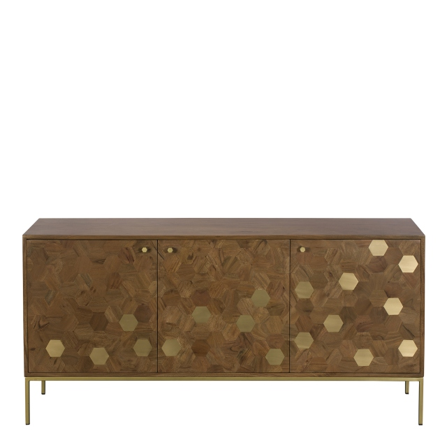 Penang - 160cm Wide Sideboard Acacia & Brass Finish