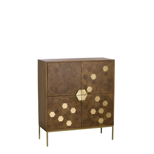 Penang - Highboard Acacia & Brass Finish