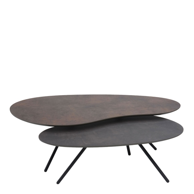 Cirrus - Coffee Table Set Inc 120cm Table Bronze & 90cm Table Agate Grey Black Frame
