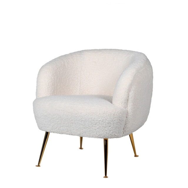 Dolly - Club Chair In White Merino With Gold Leg