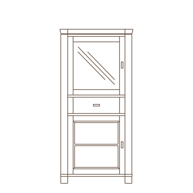 Porto - 1 Door Display Unit LH Oak