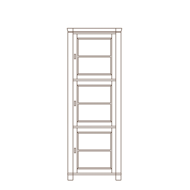 Porto - 1 Door Tall Display Unit RH Oak