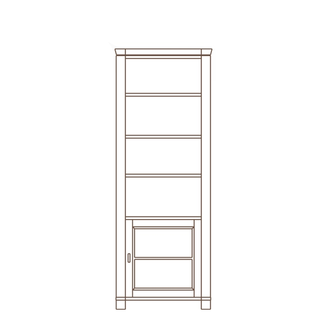 Porto - 1 Door Base Unit Open Shelf Top RH Oak