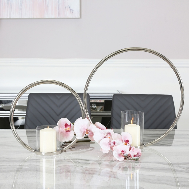 Silver Large - Ring Pillar Candle Holder