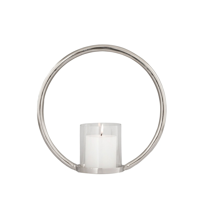 Silver Small - Ring Pillar Candle Holder
