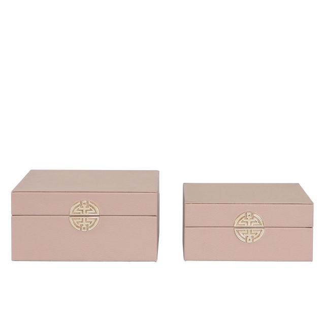 Nara Set Of 2 Jewellery Boxes - Pink & Gold