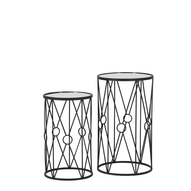 Tara - Set Of 2 Mirrored Side Tables With Iron Base