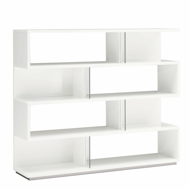 Large Bookcase In White High Gloss - Polar