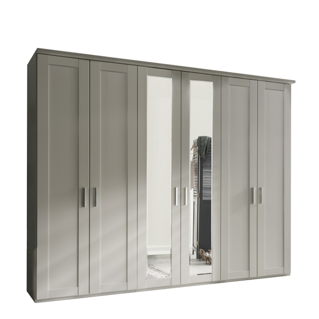 Milton  - 6 Door 300cm Hinged-door Wardobe With 2 Doors Mirrored