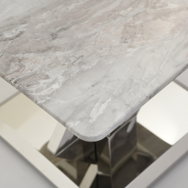 Azaro - Lamp Table Grey Marble Top With Chrome Finish Base