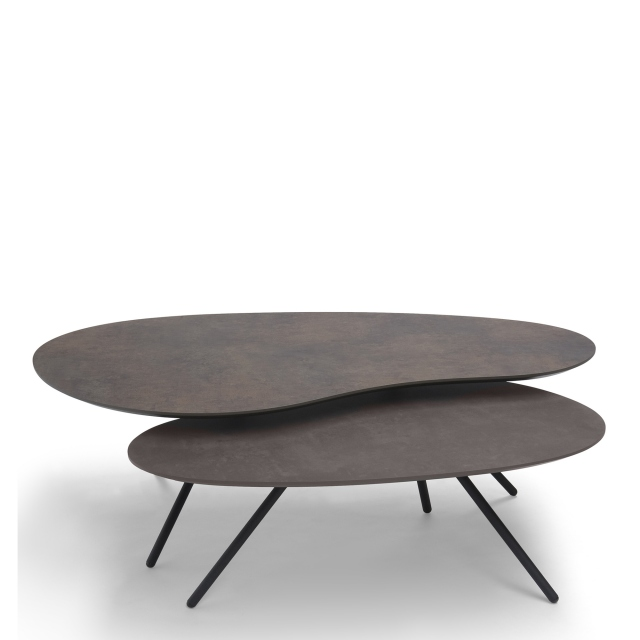 Cirrus - Coffee Table Set Inc 120cm Table In Bronze 0794GA & 90cm Table In Bronze 0794GA Black Frame