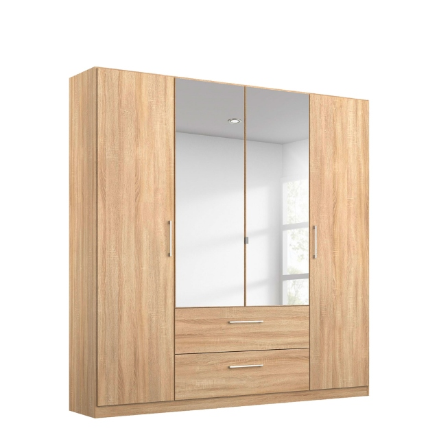 Cologne - 4 Door/2 Drawer Hinged Robe 2 Mirror Door in AD701 Sonoma Oak Front & Carcase