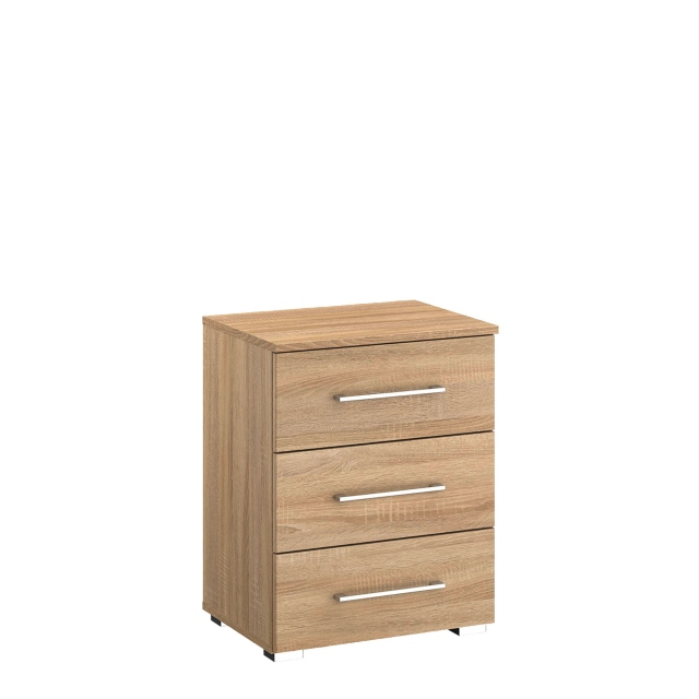 Cologne - 3 Drawer Bedside Table In AD701 Sonoma Oak Front & Carcase
