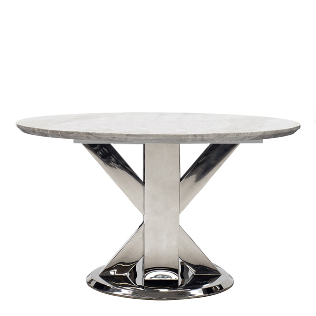 Azaro - 130cm Round Dining Table Grey Marble Top With Chrome Finish Base