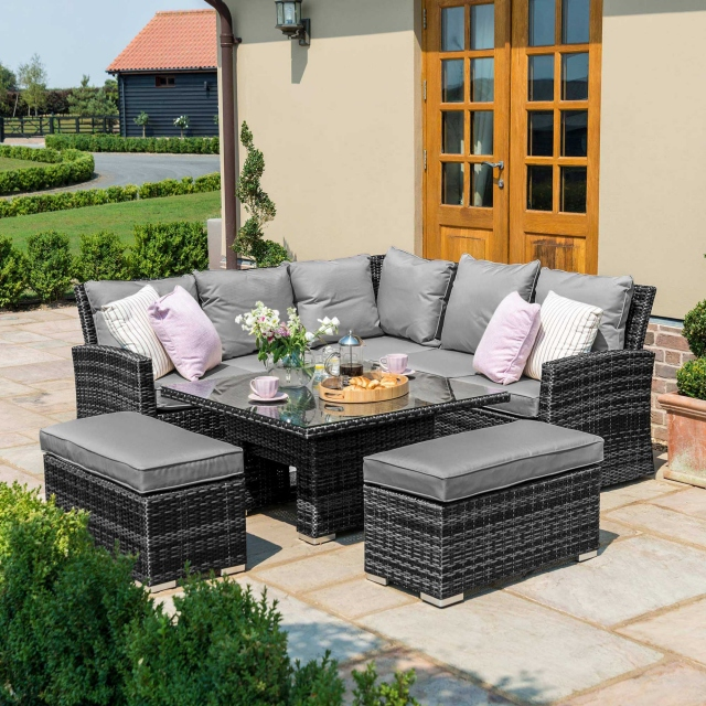 Seychelles - Corner Bench Set With Rising Table Set - Grey Rattan