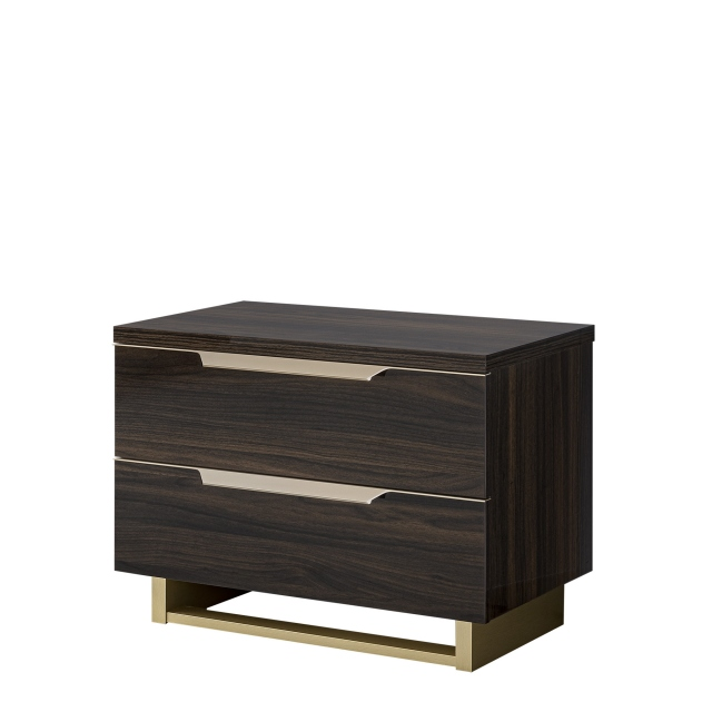 Mini Night Table In Glossy Dark Walnut Finish - Sahara