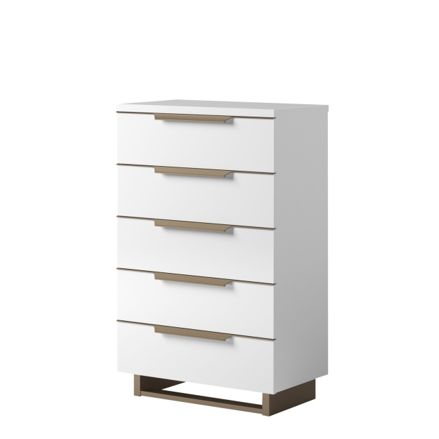 Sahara - Tall Boy 6 Drawer Chest in White Gloss Finish