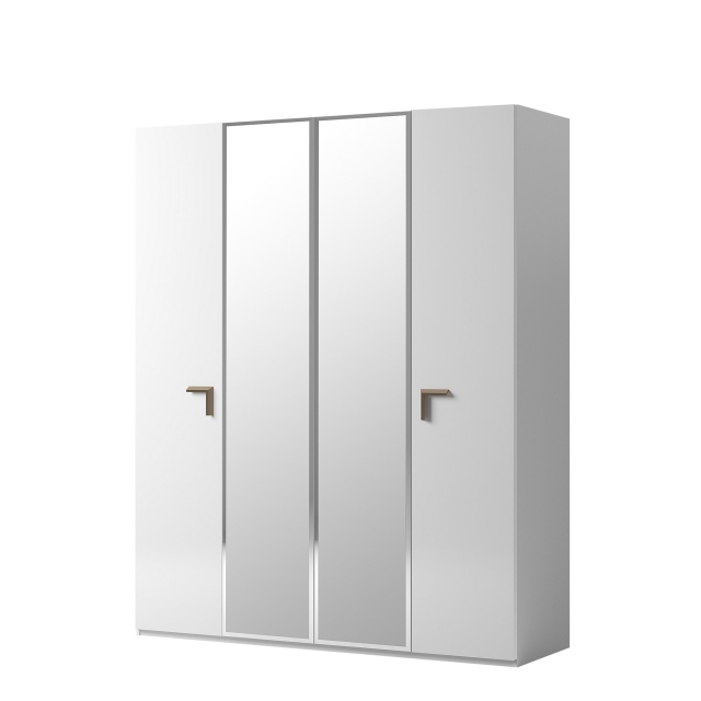 Sahara - 186cm 4 Door Wardrobe With 2 Central Mirrored Doors in White Gloss Finish