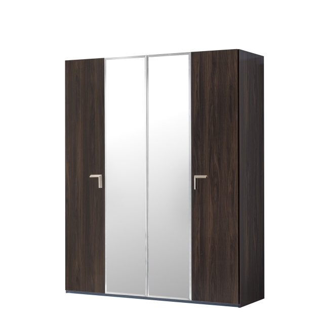 Sahara - 186cm 4 Door Wardrobe With 2 Central Mirrored Doors In Dark Walnut Finish