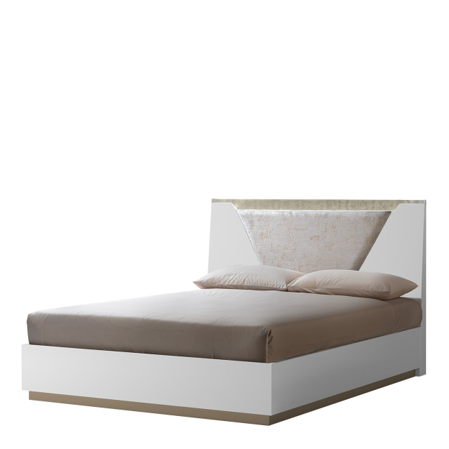 Sahara - 154cm Bed With Wooden Headboard Including LED Lights In White Finish
