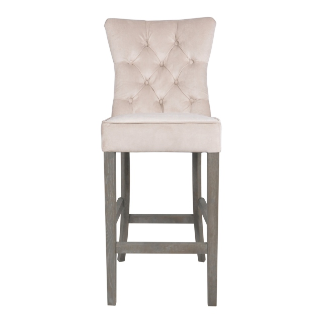 Grayson - Buttoned Back Bar Stool In Beige Velvet Grey Oak Legs