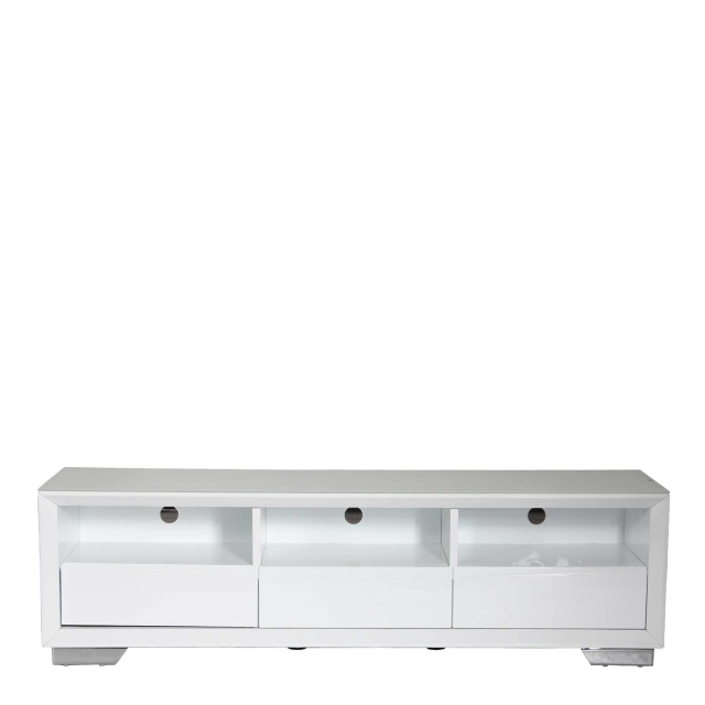 Athena - TV Stand White High Gloss With White Glass Top